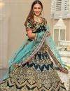 image of Velvet Designer Bridal Lehenga With Embroidery Work On Teal Color