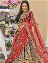image of Embroidered Wedding Wear Lehenga Choli In Velvet Navy Blue Color