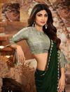 photo of Shilpa Shetty Georgette Fabric Designer Dark Green Color Party Style Saree