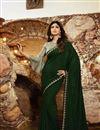 image of Shilpa Shetty Georgette Fabric Designer Dark Green Color Party Style Saree