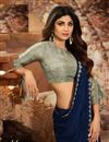 photo of Shilpa Shetty Georgette Fabric Party Style Designer Saree In Navy Blue Color