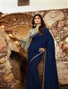 image of Shilpa Shetty Georgette Fabric Party Style Designer Saree In Navy Blue Color