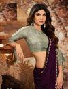 photo of Shilpa Shetty Georgette Fabric Party Style Designer Purple Color Saree