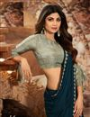 photo of Shilpa Shetty Georgette Fabric Party Style Designer Teal Color Saree