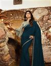 image of Shilpa Shetty Georgette Fabric Party Style Designer Teal Color Saree