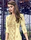 photo of Embroidery Work On Yellow Color Georgette Fabric Sharara Palazzo Salwar Suit