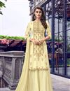 image of Embroidery Work On Yellow Color Georgette Fabric Sharara Palazzo Salwar Suit