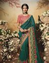 image of Festive Special Teal Color Designer Saree In Art Silk Fabric