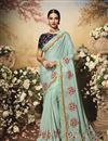 image of Light Cyan Color Satin Fabric Festive Wear Saree
