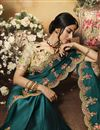 photo of Festive Special Teal Color Traditional Saree In Chiffon And Satin Fabric