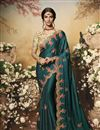 image of Festive Special Teal Color Traditional Saree In Chiffon And Satin Fabric
