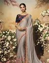 image of Dark Beige Color Chiffon And Satin Fabric Festive Wear Saree