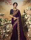 image of Festive Special Purple Color Art Silk Fabric Function Wear Saree