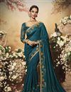 image of Teal Color Art Silk Fabric Party Wear Designer Saree