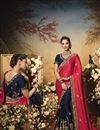 image of Satin Fabric Pink And Navy Blue Color Designer Saree