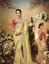 image of Festive Special Satin Fabric Designer Saree In Beige Color