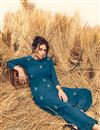 photo of Party Style Teal Designer Kurti With Bottom In Cotton Fabric