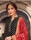photo of Embroidery Work On Jacquard Fabric Black Color Wedding Wear Palazzo Salwar Suit