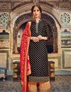 image of Embroidery Work On Jacquard Fabric Black Color Wedding Wear Palazzo Salwar Suit