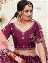 photo of Purple Color Art Silk Fabric Embroidery Work Reception Wear Lehenga