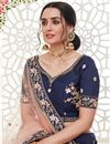 photo of Embroidery Work Designs Art Silk Fabric Navy Blue Color Wedding Wear Lehenga Choli