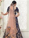 picture of Embroidery Work Designs Art Silk Fabric Navy Blue Color Wedding Wear Lehenga Choli