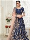 image of Embroidery Work Designs Art Silk Fabric Navy Blue Color Wedding Wear Lehenga Choli