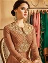 photo of Georgette Fancy Floor Length Embroidered Anarkali Suit In Fawn