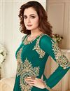 photo of Dia Mirza Featuring Teal Color Georgette Fabric  Embroidered Designer Anarkali Salwar Suit