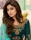 photo of Shamita Shetty Georgette Fabric Party Style Embroidered Teal Color Long Anarkali Suit