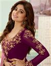 photo of Shamita Shetty Party Style Georgette Fabric Embroidered Anarkali Dress In Burgundy Color