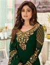 photo of Shamita Shetty Georgette Fabric Dark Green Color Party Style Embroidered Long Anarkali Suit