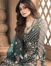 picture of Shamita Shetty Teal Color Net Fabric Sangeet Wear Designer Anarkali Salwar Kameez