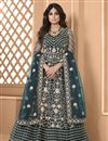image of Shamita Shetty Teal Color Net Fabric Sangeet Wear Designer Anarkali Salwar Kameez