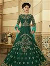 image of Dark Green Designer Embroidered Long Anarkali Salwar Kameez In Art Silk Fabric