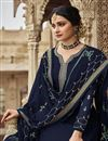 photo of Prachi Desai Navy Blue Color Festive Wear Embroidered Georgette Fabric Palazzo Suit