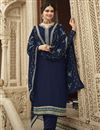 image of Prachi Desai Navy Blue Color Festive Wear Embroidered Georgette Fabric Palazzo Suit