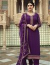image of Prachi Desai Purple Color Function Wear Embroidered Georgette Fabric Palazzo Suit