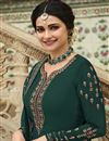 photo of Prachi Desai Dark Green Color Georgette Fabric Sangeet Wear Embroidered Palazzo Suit