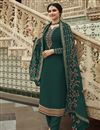 image of Prachi Desai Dark Green Color Georgette Fabric Sangeet Wear Embroidered Palazzo Suit