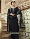 image of Prachi Desai Georgette Fabric Festive Wear Designer Embroidered Black Color Palazzo Suit