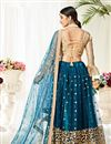 picture of Teal Color Sangeet Wear Net Fabric Thread Embroidered Lehenga Choli