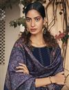 photo of Party Wear Navy Blue Color Embroidered Readymade Straight Cut Suit In Rayon Fabric