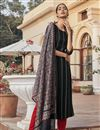 image of Black Color Party Wear Embroidered Readymade Straight Cut Suit In Rayon Fabric