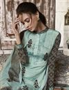photo of Crepe Fabric Printed Daily Wear Straight Cut Dress In Cyan