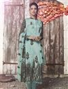 image of Crepe Fabric Printed Daily Wear Straight Cut Dress In Cyan