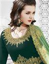 photo of Dark Green Embroidered Georgette Designer Function Wear Floor Length Anarkali Dress