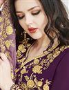 photo of Georgette Embroidered Purple Designer Function Wear Long Length Anarkali Suit