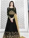 image of Embroidered Black Designer Function Wear Long Length Anarkali Suit In Georgette