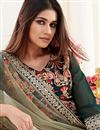 photo of Party Style Dark Green Color Thread Embroidered Straight Cut Suit In Georgette Fabric